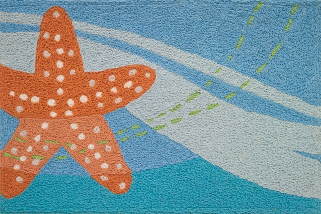 Jellybean Indoor Outdoor Machine Washable Starfish Rug Our