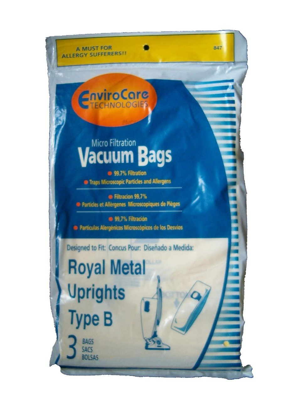 3 Royal Upright Type B Vacuum Cleaner Allergy Bags Top