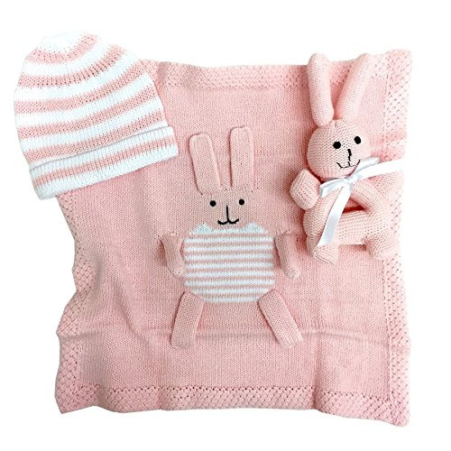 Estella goft-bunny-pk Hand Knit Bunny Organic Cotton Newborn Baby Girl Gift Set