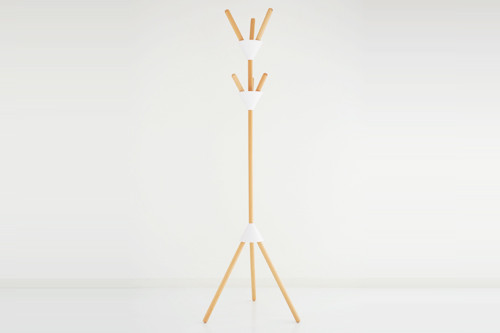 "Alessi ""Pierrot"" Coat Stand In Wood And Thermoplastic Resin, White"