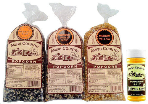 Amish Country Popcorn 3 Bags 1 Pound Each, Midnight Blue, Rainbow, Medium Yellow Total 3 Pounds (3 pounds with Ballpark
