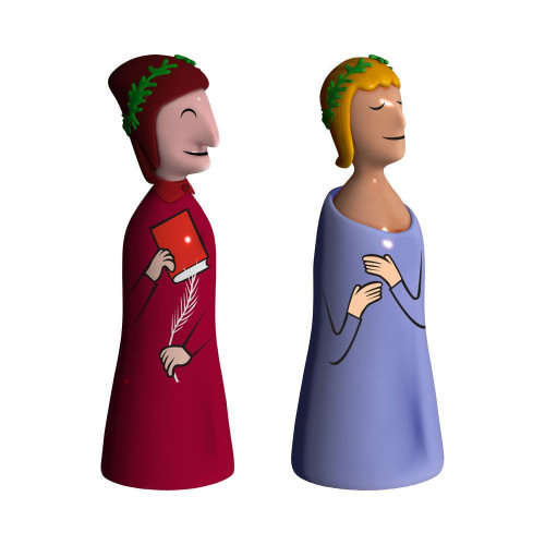 Alessi Dante and Virgilio Set of Two Figurines in Porcelain 4""