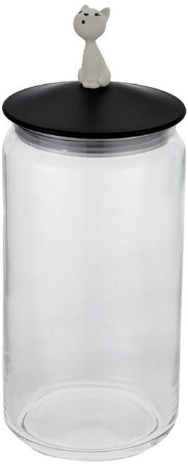 Alessi Mio Jar for Cat Food Black