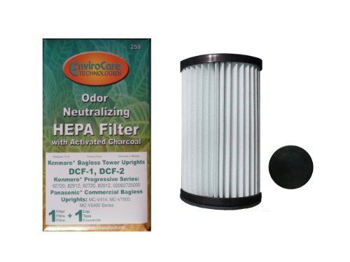 (1) Kenmore Bagless Pleated Tower HEPA w/activated Charcoal Filters & 2 caps, Upright bagless, Sears 300 Series, Panason