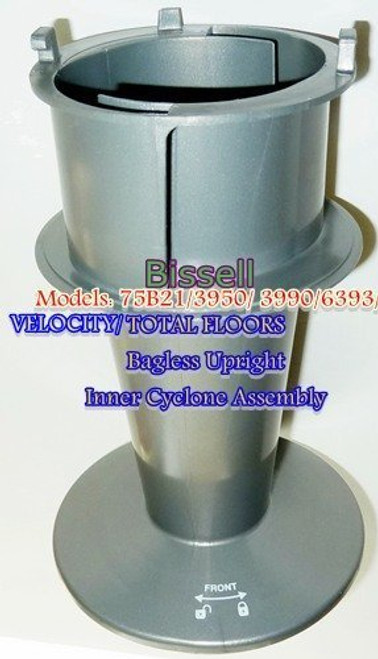 BISSELL GENUINE INNER CYCLONE ASSEMBLY FOR VELOCITY/ TOTAL FLOORS BAGLESS UPRIGHTS. For Models 75B21/6393/3950/ 3990