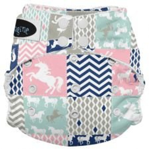 Imagine Baby Products Bamboo AIO 2.0 Diaper, Unicorn Dreams, Snap