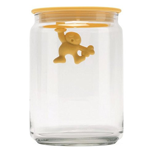 "Alessi AMDR05 SY ""Gianni a little man holding on tight"" Kitchen Box in Glass With Hermetic Lid in Thermoplastic Resin, Y"