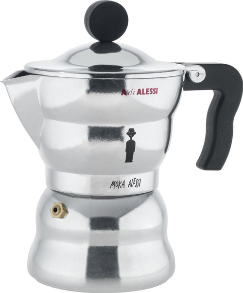 "Alessi AAM33/3 ""Moka"" Stove Top Espresso 3 Cup Coffee Maker in Aluminium Casting Handle And Knob in Thermoplastic Resin,"