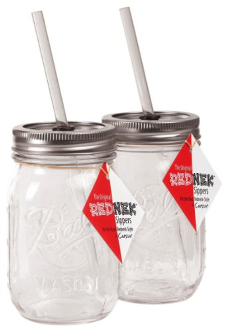 Carson Home Accents The Original Red Nek Sipper Drinking Jar, 16-Ounce, Set of 2