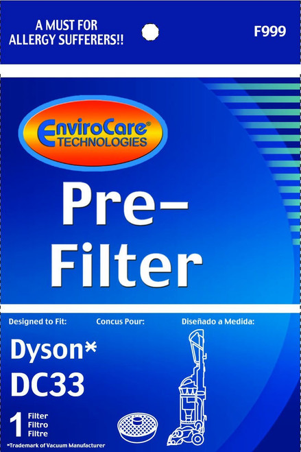 Dyson DC33 Washable & Reusable Pre-Filter Designed To Fit Dyson DC33 Multi Floor Vacuums; Compare To Dyson Part # 919563