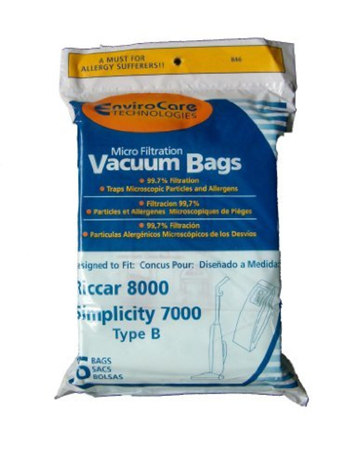 6 Riccar 8000 & Simplicity 7000 Type B Vaccum Bags, Upright, Commercial Vacuum Cleaners, 8000, 7000, 7200, 7250, 7300, 7