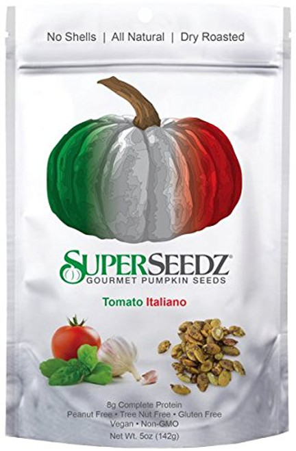 Super Seedz - Gourmet Roasted Pumpkin Seeds, 5 oz Package (Pack of 2) Tomato Italiano - Non Gmo, Vegan and Gluten Free S