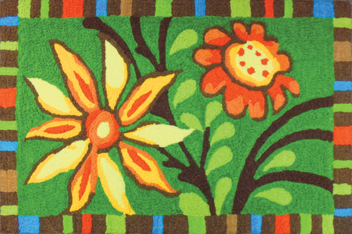 Colorful Summer Buds Red Yellow Floral Area Rug