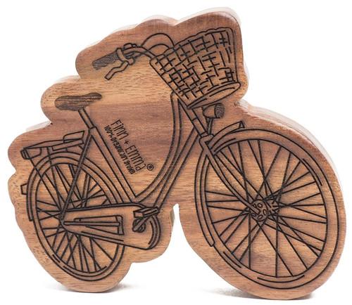 Finn + Emma | Wood Rattle Teether | Baby Girl | Holland Bike | 100% Organic & Eco-Friendly | Made in India