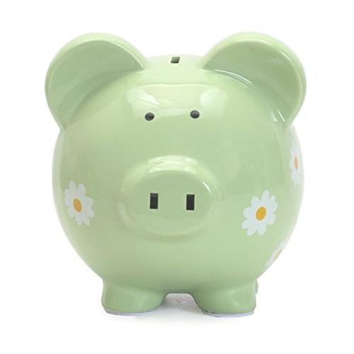 Child to Cherish Large Daisy Pig Bank, Green
