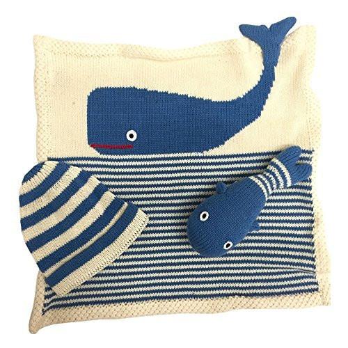 Estella gift-whale Hand Knit Whale Organic Cotton Newborn Baby Gift Set by Estella
