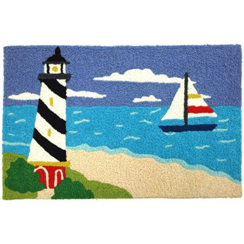 Sailor's Friend Coastal Lighthouse Sailing Jellybean Accent Rug