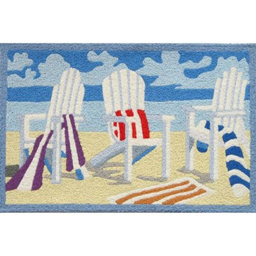 Tropical Beach Towel Adirondack Chair Accent Rug