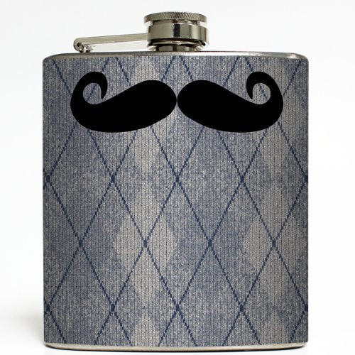 Mustache Attack - Liquid Courage Flasks - 6 oz. Stainless Steel Flask