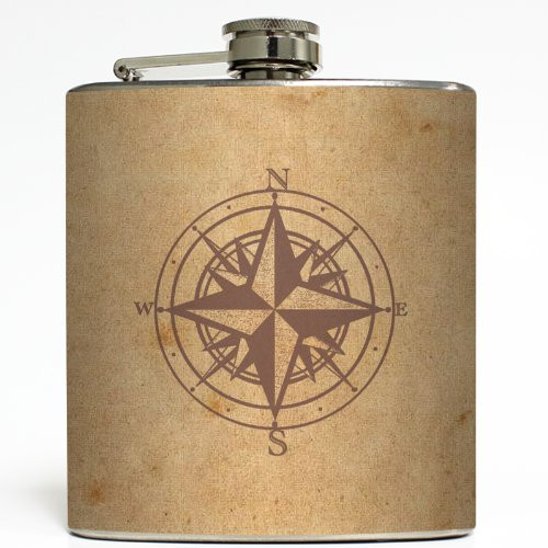 Which Way's North? - Liquid Courage Flasks - 6 oz. Stainless Steel Flask
