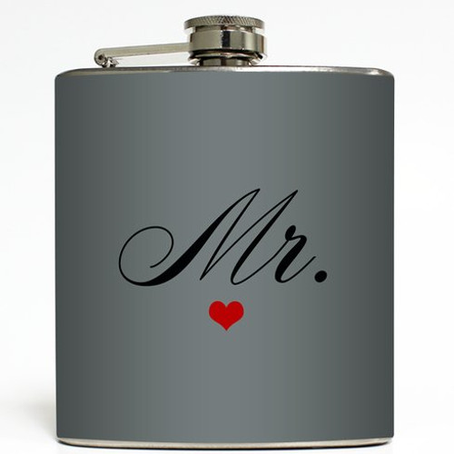 Mr. - Grey - Liquid Courage Flasks - 6 oz. Stainless Steel Flask