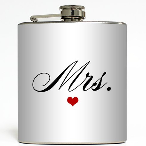 Mrs. - White - Liquid Courage Flasks - 6 oz. Stainless Steel Flask