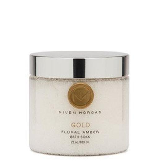 Niven Morgan Gold Floral Amber Bath Soak, 22 fl.oz/633ml.