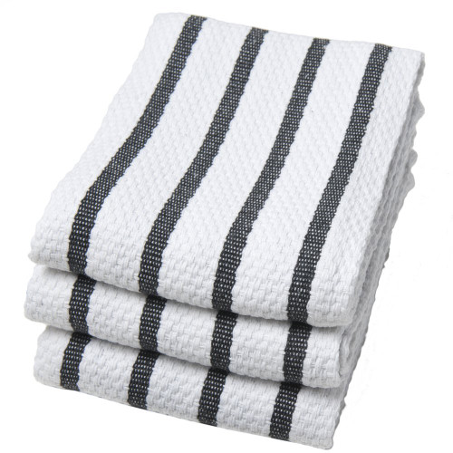 Now Designs Basketweave Kitchen Towel, Set of 3, Black