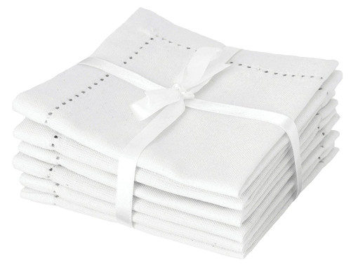 Now Designs Hemstitch Cocktail Napkins, White, Set of 6