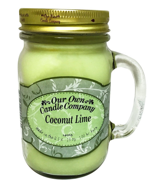 Coconut Lime Scented 13 Ounce Mason Jar Candle By Our Own Candle