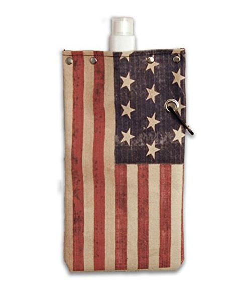 American Flag Water,Wine and Beverage Canvas Reusable Flask Bottle & Tote Carrier Holds 750ml/26oz