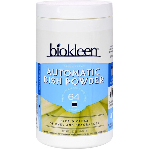 Biokleen Auto Dish Powder - Free And Clear - 32 Oz (2 LB Bottle)