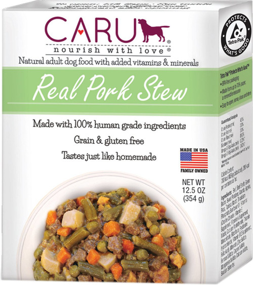 Caru Real Pork Stew Wet Dog Food 12 Ounce, 12 Pack