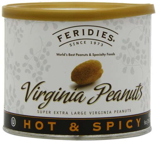 FERIDIES Hot & Spicy Virginia Peanuts, 9-Ounce Cans (Pack of 4)