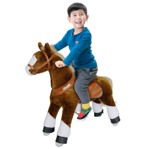 Pony Cycle Riding Brown with White Hoof Small Horse