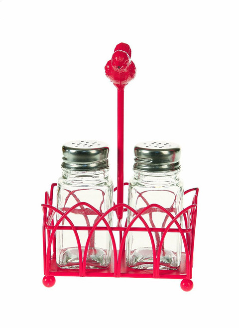 Creative Co-Op Glass Salt and Pepper Shakers with Fuchsia Metal Stand and Bird