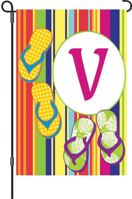 Premier Kites 51461 Summer Monogram Garden Flag, Letter V, 12-Inch