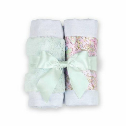 Bearington Bears Lil Hoots Paisley Baby Burp Cloth Set of 2