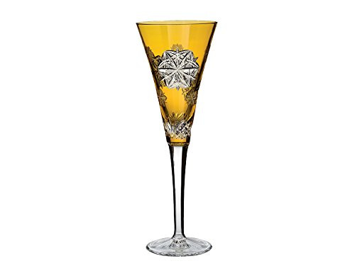 Snowflake Wishes Peace Amber Champagne Flute Glass