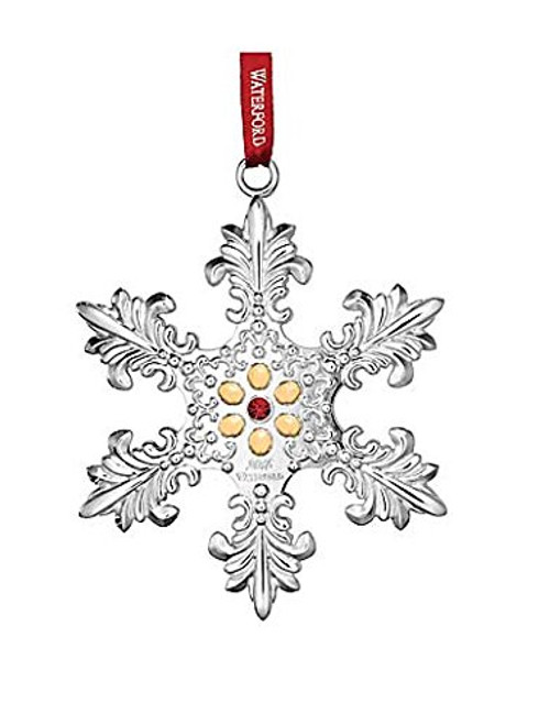 2015 Waterford Annual Snowflake with Gold Accents Silver Christmas Ornament