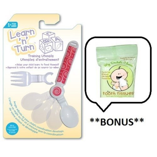 Learn 'N' Turn Awarding-Winning Adjustable Bendable Spoon and Fork Utensils (Color: Red) with **BONUS** Tooth Tissues Sa