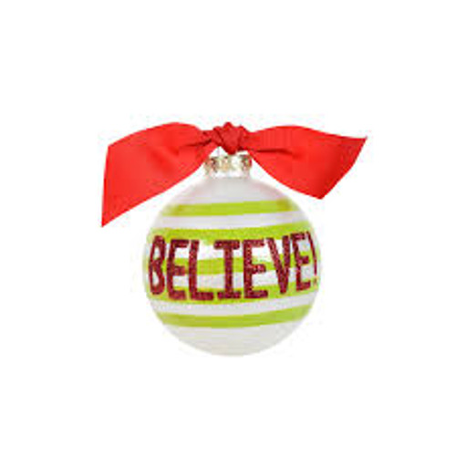 Coton Colors Believe Glass Ornament