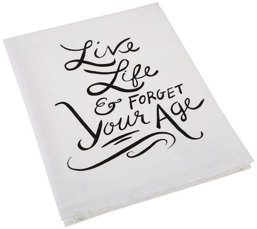 Primitives by Kathy Live Life Tea Towel, 28-Inch by 28-Inch