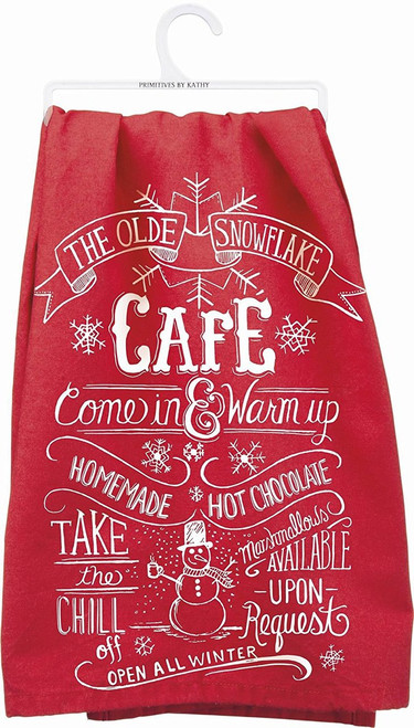 """Primitives By Kathy Kitchen Towel - """"The Olde Snowflake Cafe"""""""