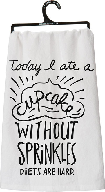 Primitives by Kathy A Cupcake Tea Towel, 28-Inch by 28-Inch