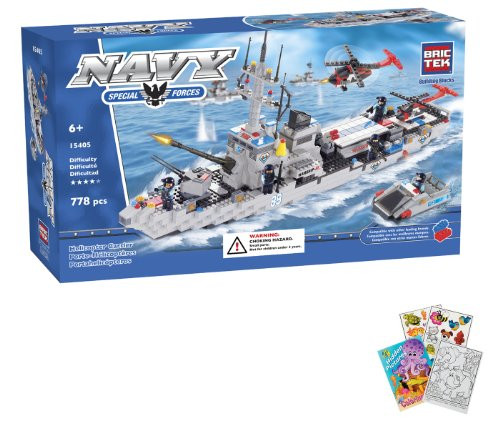 BRICTEK Helicopter Carrier War Ship 778 pcs Building Blocks (Compatible with Legos) BT-15405 + Coloring Activity Book