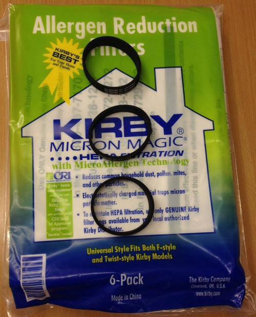Genuine Kirby Universal Bags: 1 Pack (6 bags) of Universal HEPA White Cloth Bags Kirby Part 204811 and 3 Kirby Belts Par