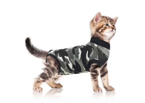 Suitical Recovery Suit for Cats XXX-Small in Black Camo. Professional alternative to the Cone of Shame. Suitable for wou