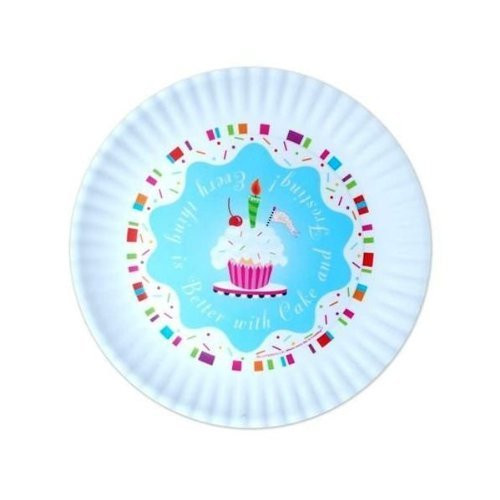 Glitterville Kids Birthday Party Plate / Dish with Cupcakes, Reuseable
