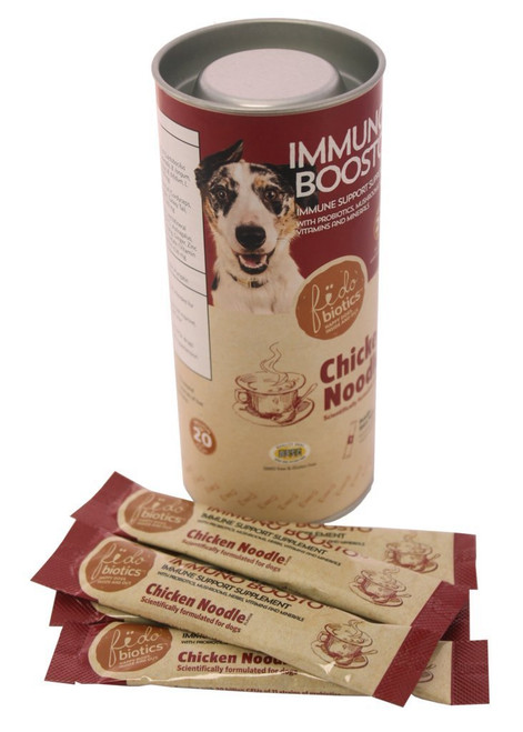 Fidobiotics Chicken Noodle flavored Probiotic supplement. 5 Stick packs in a container.